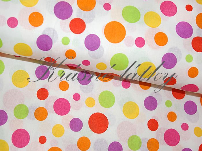 Bavlněné plátno barevný puntík, látka bavlněná, plátno, dětská metráž,135gm2