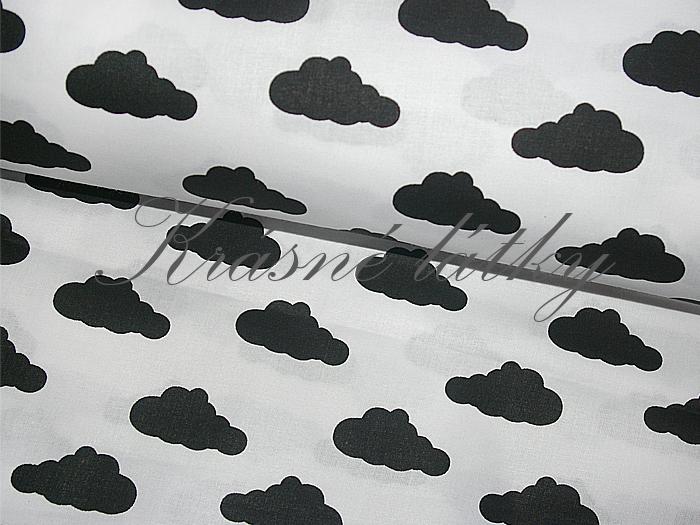 Obláčky na bílé, bavlna š. 160cm, 135gr/m2, látky metráž miky