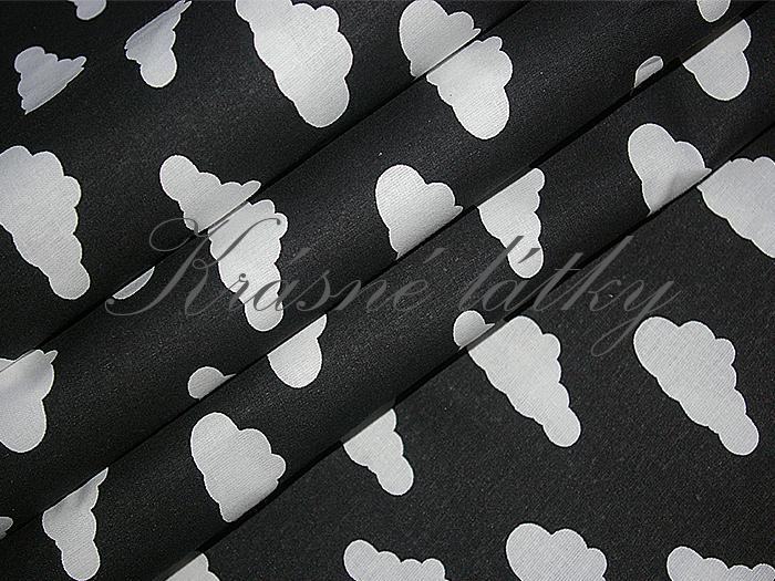 Obláčky na černé, bavlna š. 160cm, 135gr/m2, látky metráž miky