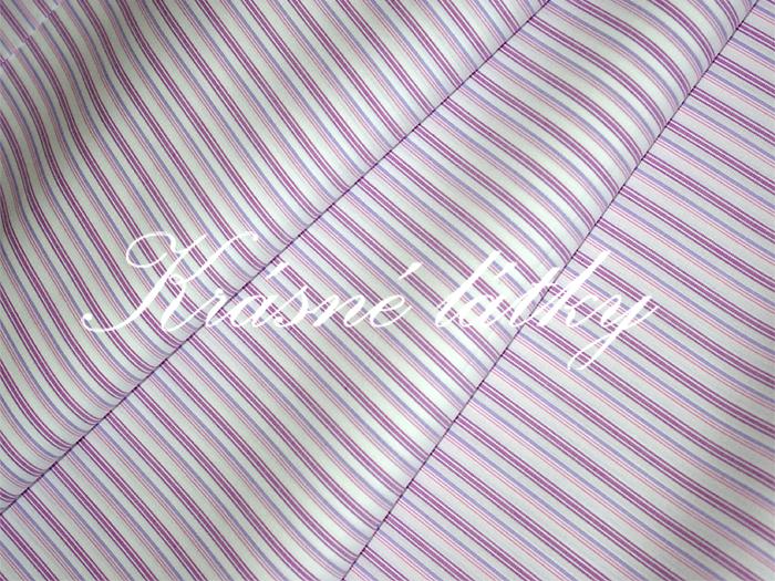 Fialové proužky, bavlna, metráž, látky na oděvy, košilovina