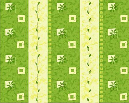 Květiny 5 zelená - flanel