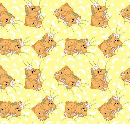 Medvídci žlutá - flanel
