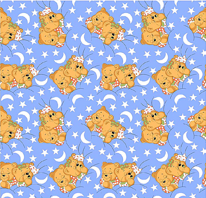 Medvídci modrá - flanel