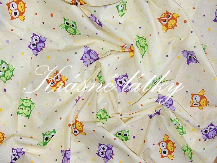Sovy- š.160 cm 100% bavlna v pestrých b. na dětské výrobky a dekoraci  smetanové c761fc3146d