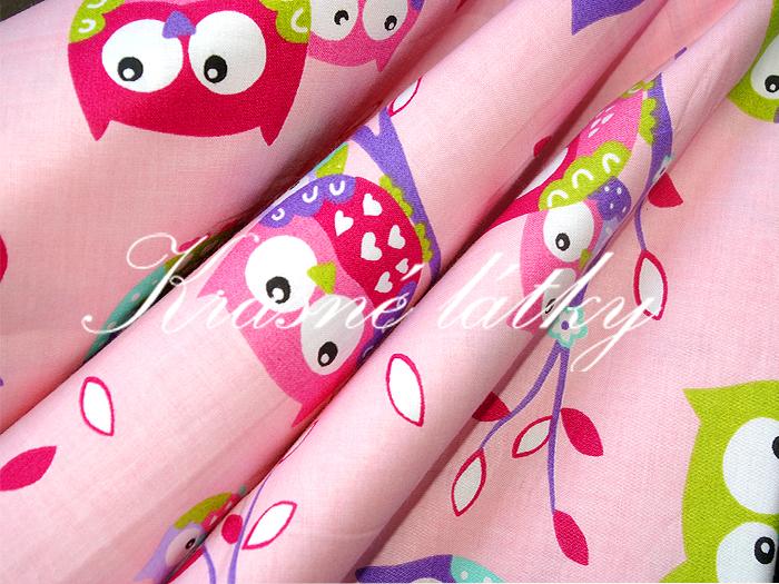 Sovy- š.160 cm 100% bavlna v pestrých b. na dětské výrobky a dekoraci 8dad15ae227