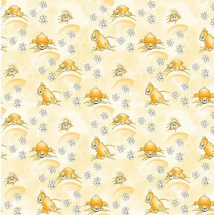Medvídek spící žlutý - flanel