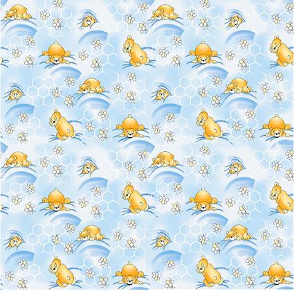 Medvídek spící modrý - flanel