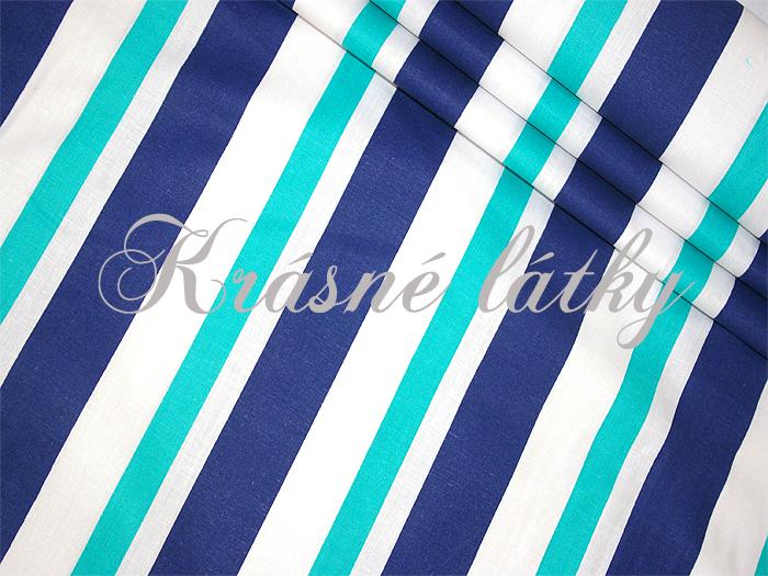 Pruhy modrý tyrkys modrý bílý š. 160cm 100% bavlna 5d97b4a75b1