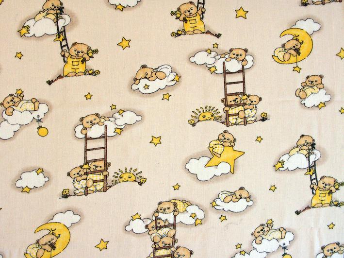 medvídek - okrové pozadí 100% bavlna - plátno