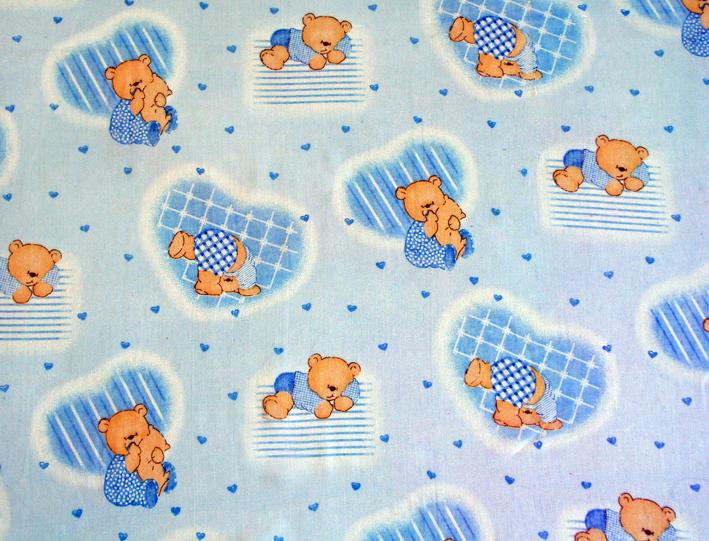 Medvídci modrá 2 - bavlna, polyester