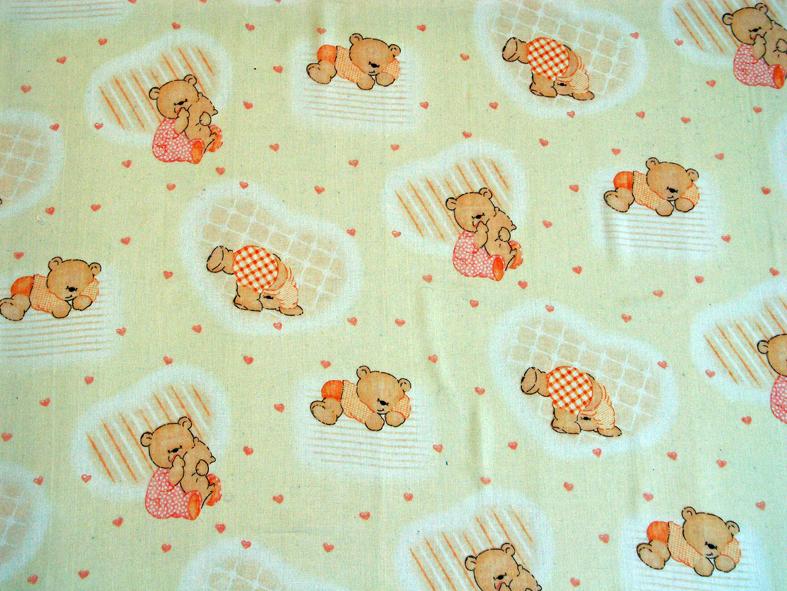 Medvídci oranžová - bavlna, polyester