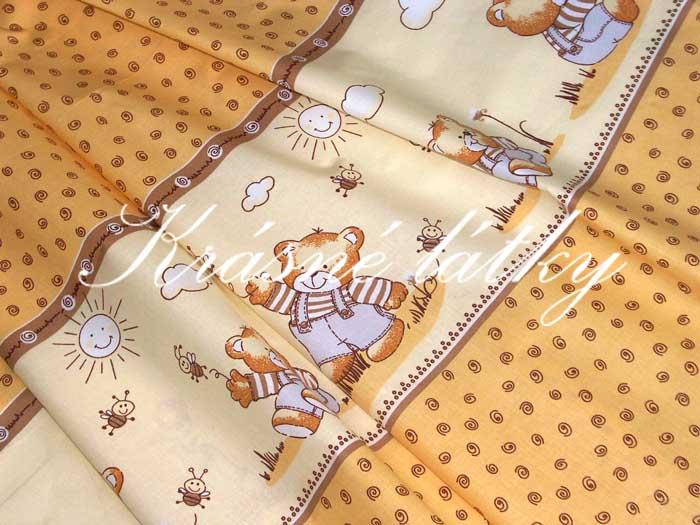 Medvídek a včelky žluté bavlněné plátno, dětská bavlna, látky metráž,p
