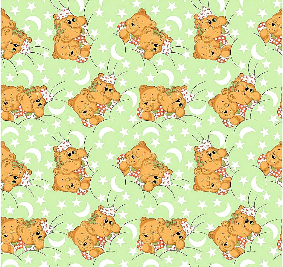 Medvídci zelená - flanel